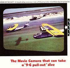 """1943 WWII Ad ~ CINE-KODAK films a 9-G pullout in film """"Eagles of the Navy"""""""