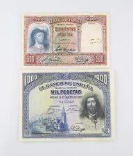 Spain Peseta Notes (Lot of 2) 1931 500 Peseta VG+ P#84 1928 1000 Peseta F+ P#78a