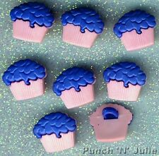 PINK CASE and BLUEBERRY TOPPING Cupcake Cake Novelty Dress It Up Craft Buttons