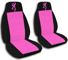 Browning Car Seat Covers in Hot Pink & Black Velour Front Set