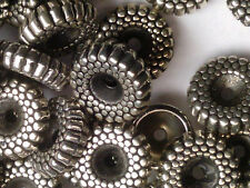 Vtg 50 SILVER PLATED ACRYLIC ORNATE TEXTURED RONDELLE BEADS 10mm #112818n