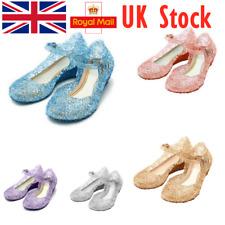 UK Girls Kids Jelly Crystal Sandals Frozen Princess Elsa Cosplay Party Shoe Size