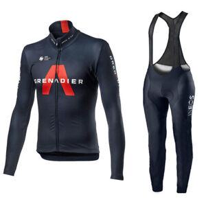 mens ineos team  Cycling Jersey Cycling Long Sleeve Jersey and Bib Pants set