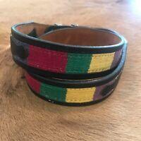 Vintage Black Leather Western Woven Boho Belt