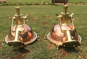 VINTAGE NAUTICAL CARGO PENDANT HANGING LIGHT MADE OF BRASS AND COPPER 2 PIECE