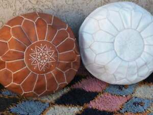 set of 2 Morocan brown handmade poufs(tan and white )/ustuffed poufs/Moroccan