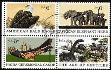 USA 1970 6c Natural History se-tenant block of 4 Used