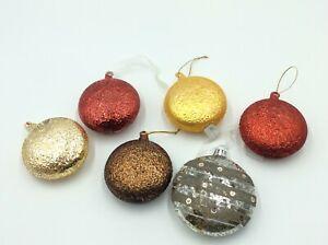 6 Glass Multi Coloured Christmas Tree Decorations Set 40