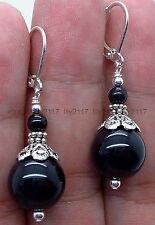 Pretty! 12mm Black Onyx  Silver Earring Leverbacks