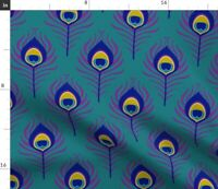 Peacock Feather Bird Deco 20S Vintage Animals Spoonflower Fabric by the Yard