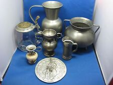 7 Antique German Pewter Pieces: 2 Pitchers,2 vases,1 beer mug,1 cup,1 picture