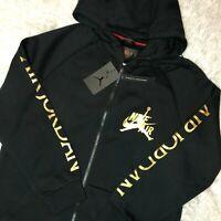 Nike Air Jordan Jumpman DMP Classic Black Gold Full-Zip Hoodie CK2223-011 Sz L