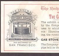 San Francisco 1882 Mechanics Institute Pavilion Central Gaslight Exhibit Ad Card