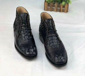 Men's Shoes Genuine Crocodile Alligator Skin Leather Lace Up Boots, Black