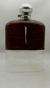 SILVER MOUNTED LEATHER/CRYSTAL HIP FLASK