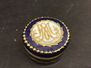 Antique French Sevres Trinket Box Cobalt Gold Marie Antoinette