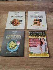 4 Low Carb Kochbücher , 3 von Alexander Grimme und 1 von Charlotte Hunger