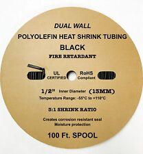 "100 Ft. Black 1/2"" 13mm Dual-Wall Adhesive 3:1 Ratio Heat Shrink Tubing M23053/4"