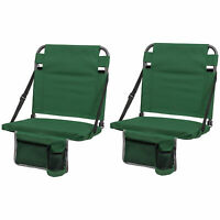 Eastpoint Sports Adjustable Backrest Stadium Seat w/ Cup Holder, Green (2 Pack)