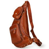 Real Leather Sling Chest Bag Men Shoulder Sports Pouch Pack Crossbody Backpack