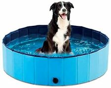 More details for petsol foldable paddling pool in navy blue for dogs and pets
