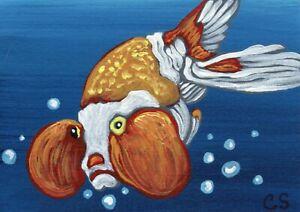 ACEO ATC  Black Moor Goldfish Pet  Original Painting Fish Art-Carla Smale