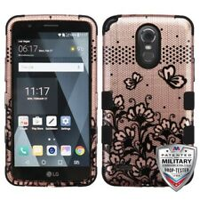 Black Lace Flowers 2D Rose Gold Black TUFF Phone Cover LG LS777 Stylo 3 LG MP450