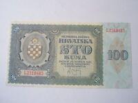CROATIA 100 kuna 1941 crisp UNC NDH war Yugoslavia Germany