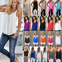 Womens Summer Sleeveless Vest Tank Tops Blouse Ladies Casual Loose T-shirt Cami