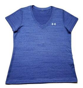 Under Armour UA Athletic V Neck T Shirt Purple Stretch S/S Yoga Gym Tee *Large*