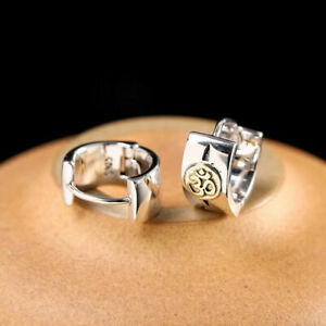 Om Ohm Symbol Men Sterling Silver &Brass Hinged Huggie Hoop Earrings A1657