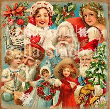 Vintage Victorian Santa Collage #1 - 8x8 Quilting or Craft Fabric Block