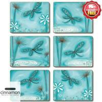 Cinnamon Blue Dragonfly Coasters  | Set of 6pcs