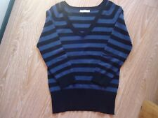 PULL FIN GEMO.36/38 RAYURE MARIN BLEU FONCE/ NOIR. COL V . MANCHES AUX COUDES.