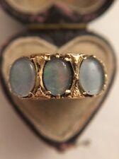 Amazing Yellow Gold Heart Shank 3 Stone Moonstone Ring Large