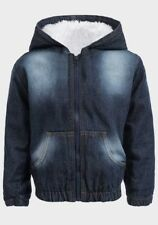 BOYS BLUE COTTON FUR LINED HOODED NECKLINE DENIM JACKET AGE 9  MONTH TO 5 YEARS