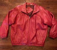 Preston & York Red Lambskin Leather Jacket Women's Size XL