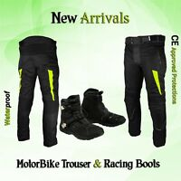 Motorcycle Waterproof textile trouser pant motorbike racing shoes leather boots