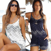 Women Summer Beach Mini Playsuit Ladies Holiday Jumpsuit Romper Shorts Pants US