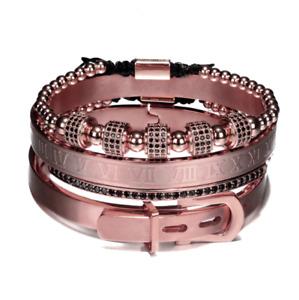 4PCS Set Rhinestone 18kt Black Men Luxury Women Jewelry Beads Bangle Bracelets