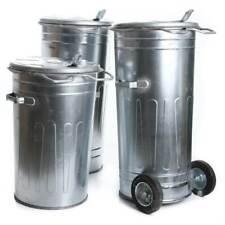 Mülltonne verzinkt Müllbehälter 80L 110L  mit Deckel Behälter Abfalltonne Stahl