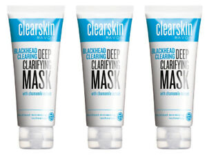 3 x Avon Clearskin Blackhead Removing Face Mask - 3 x 75ml New Rare