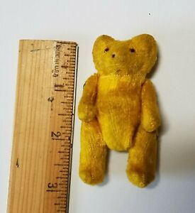 """Vintage Tiny 3"""" Teddy Bear Yellow Jointed Glass Eyes"""