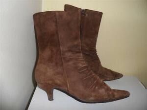 Report Attitude Size 8 Brown Genuine Suede Kitten Heel Zipper Above Ancle Boots