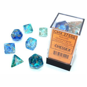 Chessex Nebula Luminary Polyhedral 7-Die Dice Set Oceanic/Gold NEW