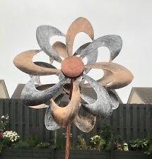 More details for garden double wind spinner solar powered led globe modern light new & boxed 92cm