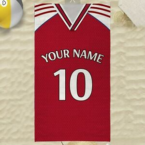 Custom Football Team Beach Towel Personalised with Your Surname and Shirt Number