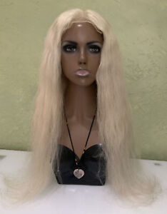 Lace Front 100% Natural Real Human Hair Wig Blonde 26 in (stretched) 180-200%