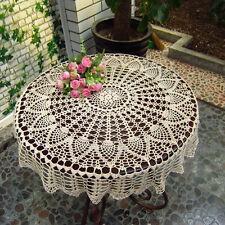32''/80cm White Round Hand Crochet Table Cloth Runner Topper Pineapple Floral