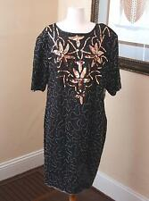 Vintage Gunit Silk Beaded Sequin Black Dress Cocktail Evening Size 2X 2XL XXL